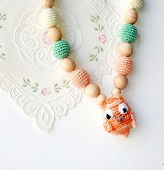 Nursing Necklace Owl Pastel colors Rainbow by MiracleFromThreads, $30.00
