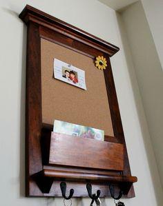 Hardwood Kitchen Organizer Family Planner Maple Cork Board, Chalkboard, Or  Dry Erase Key Hooks, Mail Organizer Entryway Organzier Home Decor