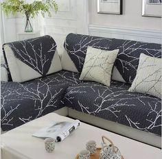 Genial Black Leaf Slipcovers Sofa Slip Resistant Cushion L Shaped Sofa Cover Full Sofa  Cover/towel Single/Two/Three/Four Seater