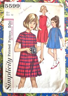 Simplicity 5599 Vintage 1960s Girls A Line Dress by Fragolina