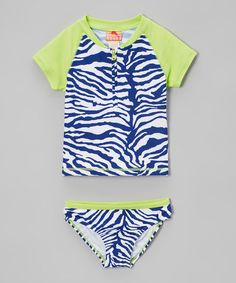 Loving this Navy & Yellow Zebra Rashguard Set - Girls on #zulily! #zulilyfinds