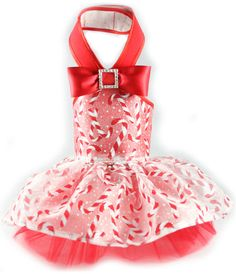 Candy Cane Halter Formal Dog Dress, candy cane halter formal dress - red/red, tulle underlay by Toni Mari