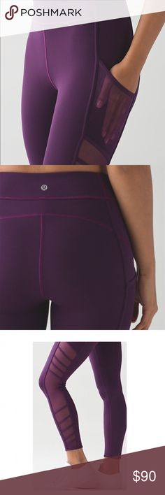 Lululemon Wild and Free Tight Rare pare of fuscia/magenta colored 7/8ths pants! This style is sold out and no longer made!! This particular pair was just too slightly too large (I am 5'9, 135lbs) and my next size down was already sold out. I've only ever tried these on, so never been washed. Perfect condition, no flaws whatsoever. Surprisingly these pants are still very stretchy and comfortable given the mesh detail. lululemon athletica Pants Ankle & Cropped