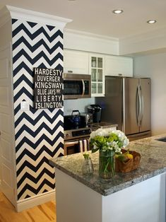 Thinking of doing my kitchen in off white, with a back and white tile floor, I think this would be a really cute pop for the space between my laundry room and living room.