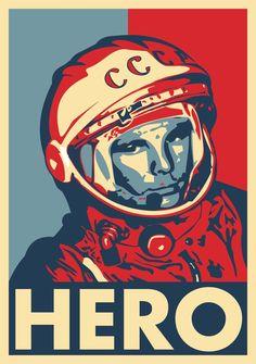 Vector art Gagarin hero
