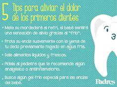 Tips para aliviar el dolor de los primeros dientes en los bebés.