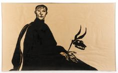 """Signed Ben Smith Woodblock """"Seated Man with Mask"""" : Lot 858. Hammer Price- $700"""