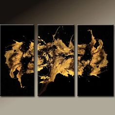 3PC Abstract Art Huge Custom Made 72x48 Metallic Gold Art on Canvas Ready to…