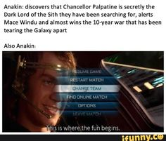 discovers that ChanceHor Palpatine is secreuy the Dark Lord ofthe sub they have been searching for, alerts Mace Windu and almostwinsme loryearwarthat has been tearing the Galaxy apan Also Anakin - iFunny :) Star Wars Jokes, Star Wars Facts, Chancellor Palpatine, Prequel Memes, Mace Windu, Online Match, Star Wars Baby, Daily Star, Bad Feeling