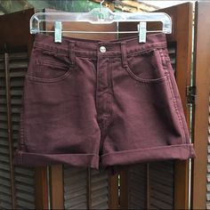 Vintage Bergamo Brown Denim High Waist Shorts Boho Cute high waist shorts in a lovely chocolate, almost wine tinted color. They were cut off from jeans and rolled at the bottom. Vintage size 9, fits more like a 4 or a 6! No trades please Vintage Shorts Jean Shorts