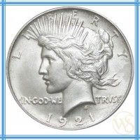 Silver Peace Dollar serves as an emblem design of peace. It is designed by Anthony de Francisci as a result of a competition. It was minted from 1921-1928 and again 1934-1935. It is 90% Fine Silver.