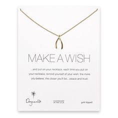 make a wish large wishbone necklace, gold dipped $58