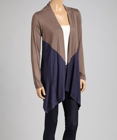 Look what I found on #zulily! Taupe & Navy Open Cardigan by Grayson #zulilyfinds