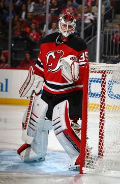 Cory Schneider of the New Jersey Devils in action against the Tampa Bay Lightning during their game at the Prudential Center on October 29 2016 in...