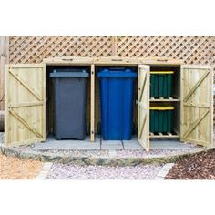 the best way to hide bins and recycle boxes from view is with this Two Bin/Two Box Bin store & Recycle bin screen