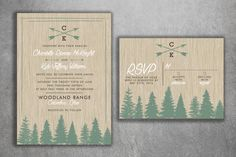 Affordable Rustic Tree Wedding Invitation Set by Level33Graphics