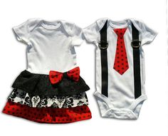 Boy Girl Twin Sibling Matching Outfits  Red Black by TheTwinShop, $45.00