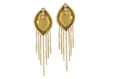 Trend tracking: fringe. From Zaiken's Throwing Stones Collection comes these citrine and diamond earrings in 18-karat yellow gold with fringe ($3,520).