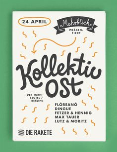 flyer and poster for KollektivOst and Lexer (at Rakete club, Nuremberg) Graphic Design Books, Graphic Design Typography, Graphic Design Inspiration, Book Design, 24. April, Band Poster, Comic Book Layout, Berlin, Event Poster Design