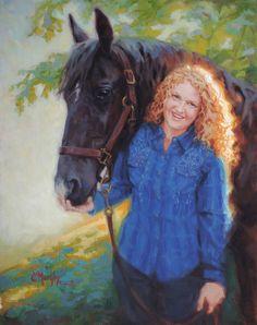 "Elizabeth and Snip, 20""x 16"" oil by Cecile W. Morgan"