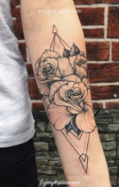 Graphic Rose Tattoo