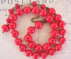 Vintage red necklace beads red glass swirl retro by CharmedVintage