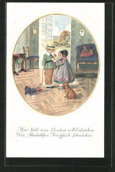 carte postale ancienne: CPA Illustrateur Pauli Ebner: Lieschen schmückt avec einer Blume das Knopfloch ihres Allerliebsten, chien, Puppen, Spielzeug