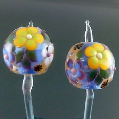 PIKALDA=handmade lampwork 2 glass beads earring flower=COOL GARDEN=SRA