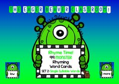 Rhyme Time! 99 Monster Rhyming Cards, Set 2, single-syllable words