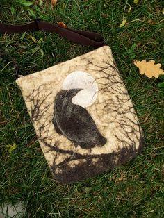 Felt crossbody bag with textile strap, felted bag, Shoulder bag, Halloween, Moon, Raven, wool bag Nuno Felting, Needle Felting, Felt Purse, Wool Art, Art Bag, Mug Rugs, Fiber Art, Felted Bags, Halloween Moon