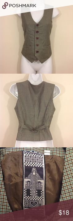 """L.A.M.B. Plaid Vest Sz M Great pre-owned condition     Color:  blue, brown Tag Size:  M     Measurements (approx.):       Chest/Bust (underarm seam to underarm seam): 17.5""""       Length (back of neck seam to hem): 18.75""""  Brand:  L.A.M.B. Fabric:  100% wool     Lamb, Gwen Stefani L.A.M.B. Tops"""