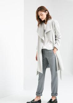 Manteau en laine revers - Robes pour Femme | MANGO