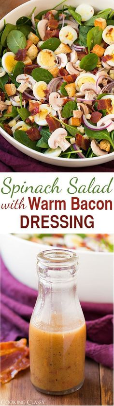 Spinach Salad with Warm Bacon Dressing – delicious salad! Spinach bacon eggs mushrooms swiss red onion and croutons. Love the bacon dressing!