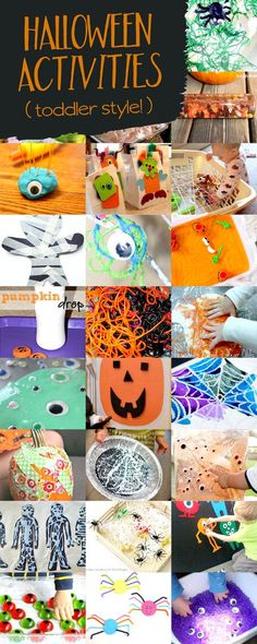Not-so-scary, but still icky and ooey, Halloween activities for toddlers. Halloween Theme Preschool, Halloween Activities For Toddlers, Halloween Books, Halloween Crafts For Kids, Halloween Games, Autumn Activities, Fall Crafts, Toddler Activities, Fall Halloween