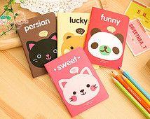 Kawaii Animal Notebooks - cat, panda notebook, teddy bear, note pad, jotter book, diary, mini notebook