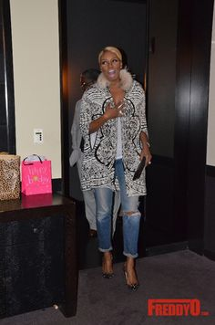 nene leakes emilio pucci embellished black white birthday coat Nene Leakes,  Jeans With Heels, e31d24e21a