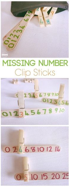 Number Line Missing Numbers Clip Sticks Missing Numbers Clip Sticks Is A Fun Math Activity For Preschool Prek And Kindergarten Homeschool Number Line Math Centers Math Practice Counting Fun Math Activities, Number Line Activities, Math Activities For Toddlers, Number Recognition Activities, Early Learning Activities, Number Games For Toddlers, Letter S Activities, Cognitive Activities, Math Practices