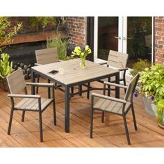 Hampton Bay Northridge 5-Piece Patio Dining Set-FCA30009PST at The Home Depot Patio Dining, Outdoor Dining, Patio Table, Outdoor Tables, Outdoor Decor, Outdoor Ideas, Outdoor Spaces, Basement Plans, 5 Piece Dining Set