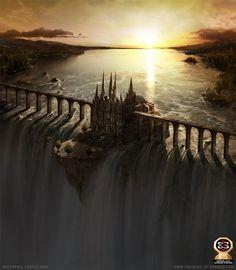 Водопад Замок Фото (2D, фэнтези, водопад, замок, матовые картины, Властелин колец)