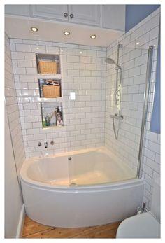 Bathtub Shower Combo, Bathroom Tub Shower, Tiny House Bathroom, Bathroom Design Small, Paint Bathroom, Bathroom Cabinets, Glass Shower, Corner Tub Shower Combo, Bathroom Mirrors