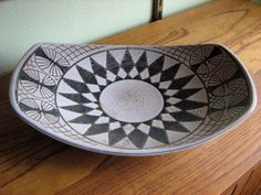 Large Mid Century Modern Scandinavian Art Pottery Dish Hand Made in Norway