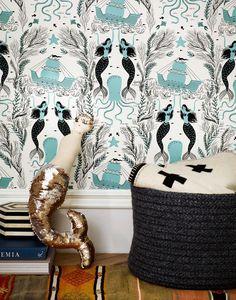 Mermaids (Ocean): Hygge & West wallpaper is covering Coastal Wallpaper, Ocean Wallpaper, Mermaid Bathroom Wallpaper, Navy Wallpaper, Bedroom Wallpaper, Wallpaper Samples, Wallpaper Ideas, Hygge And West, Mermaid Shower Curtain