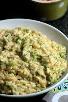 Broccoli and Cheese Risotto - 3 cups broccoli, steam or boil, chop, add at very end, take off heat, 2 cups cheese stirred in