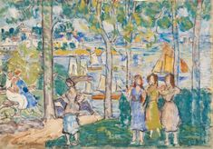 """About the art product Now, imagine you could turn into a collector of 20th century North American fine arts. This art copy will allow you to compose your art gallery. The comittee of curators selected the painting """"Trees, Houses, People"""" by the modern artist Maurice Brazil Prendergast to be in the visual art print gallery.   Structured article information          Article type: fine art reproduction   Reproduction: digital reproduction   Production technique: UV direct print   Origin of the pro Barnes Foundation, Detailed Paintings, Impressionist Artists, Post Impressionism, Maurice, Fine Art Prints, Canvas Prints, Modern Artists, Canvas Paper"""