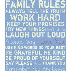 Family Rules Canvas Print in Cream