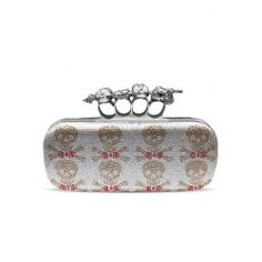 Stones Skull Wide Knuckle Clutch Silver