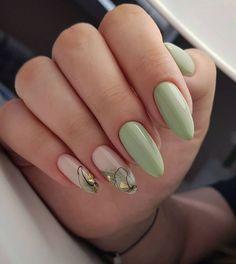 Best Nail Art Designs, Beautiful Nail Designs, Cute Nails, Pretty Nails, Olive Nails, Natural Acrylic Nails, Bullet Journal Writing, Creative Nails, Stylish Nails
