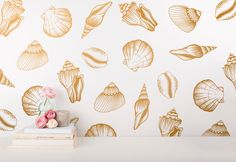 Seashell Decals - Gold Wall Decals, Beach Decals, Unique Beach House Decor, Vinyl Wall Decals Great for Gifts and More! by KennaSatoDesigns on Etsy https://www.etsy.com/listing/387132932/seashell-decals-gold-wall-decals-beach