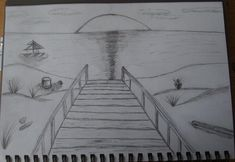 Beach Sunset Drawing Black And White