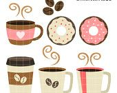 Coffee Break Digital Clip Art for Scrapbooking Card Making Cupcake Toppers Paper Crafts Digitized Embroidery Teaching SVG Cuts